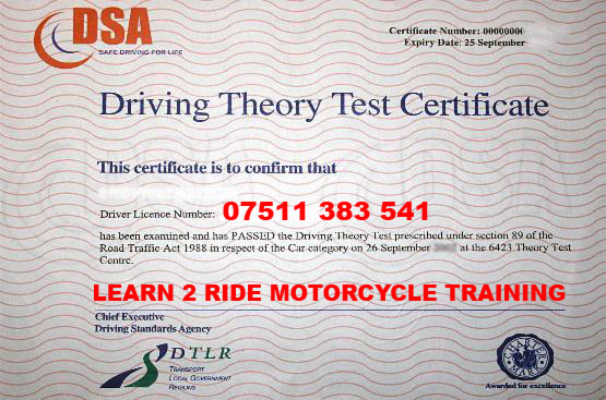 Wonderful Motorcycle Training Certificate 1 THEORY20TEST
